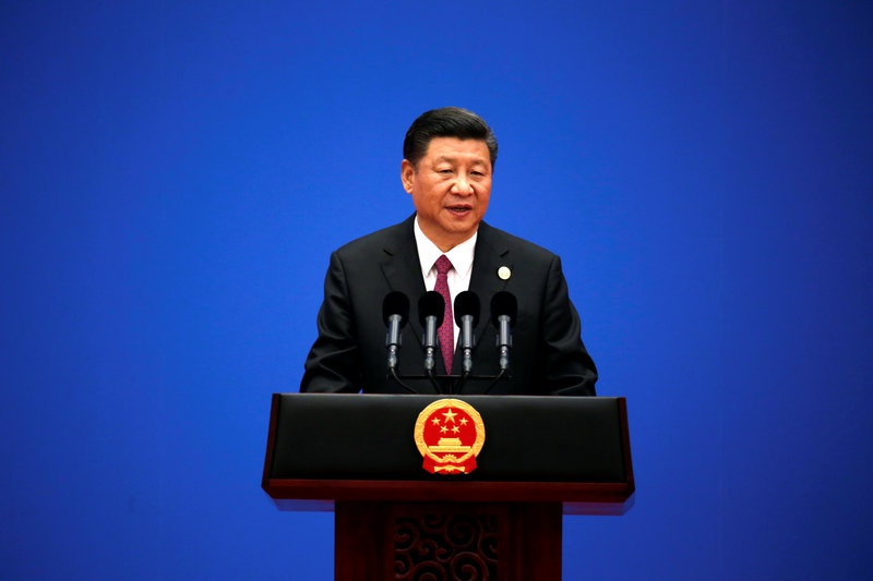 Chinese President Xi Jinping attends a news conference at the end of the Belt and Road Forum in Beijing China