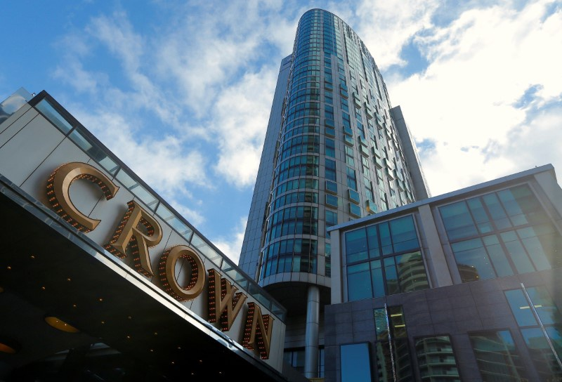 The logo of Australian casino giant Crown Resorts Ltd adorns the hotel and casino complex in Melbourne Australia