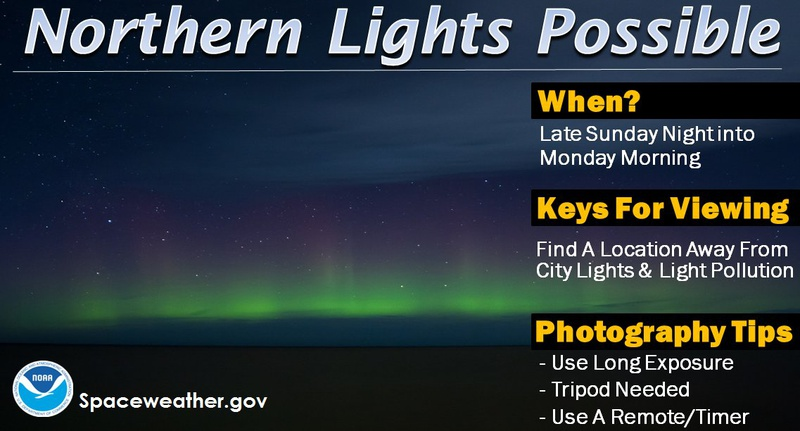 Northern Lights could potentially be visible in Pennsylvania this weekend