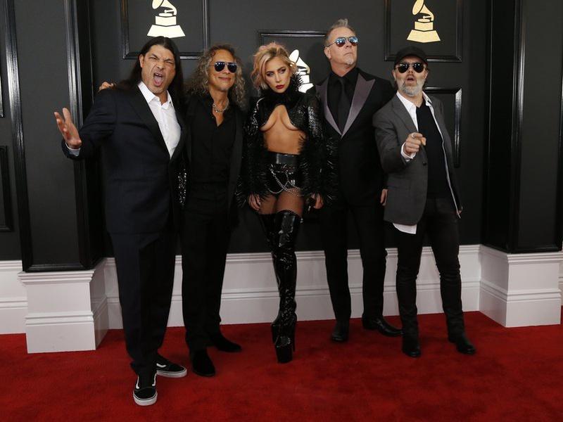 Imagini pentru grammy 2017 lady gaga and metalica