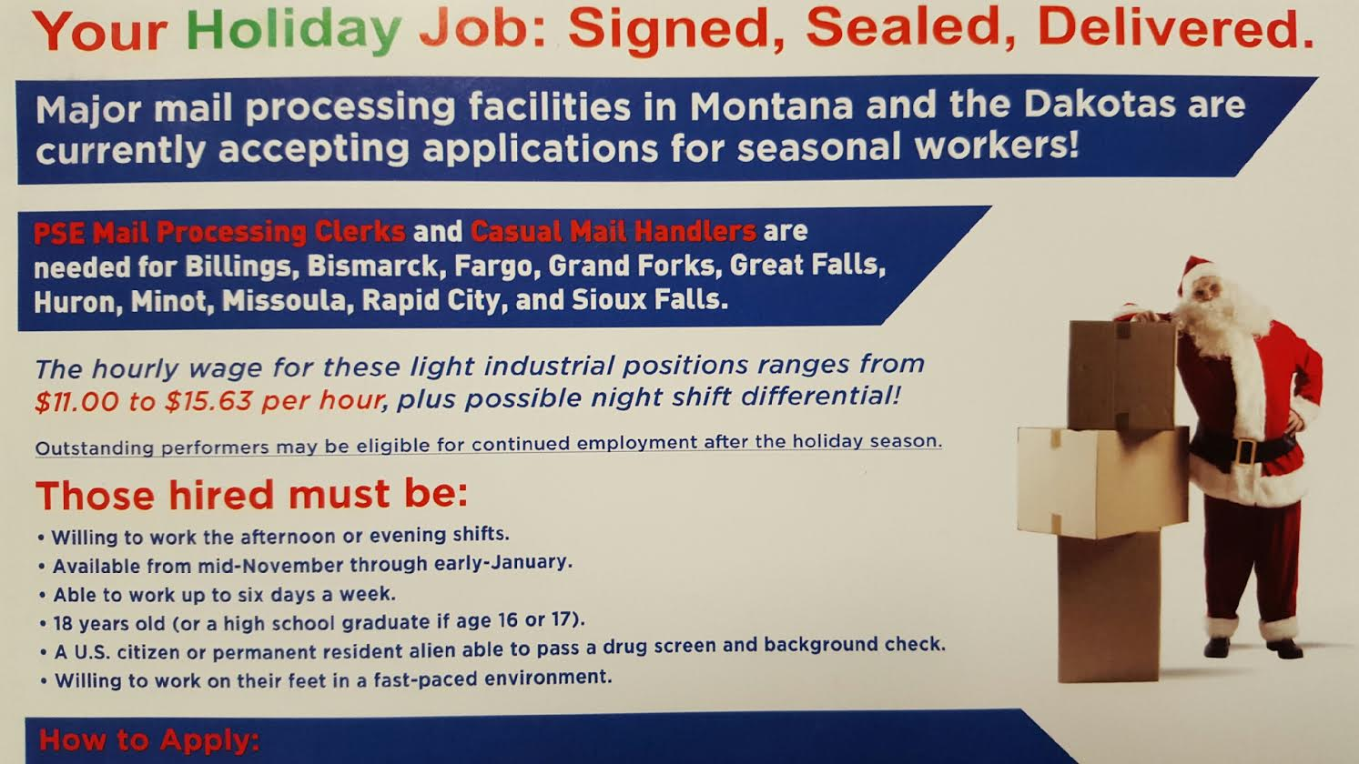 Your Holiday Job: Signed, Sealed, Delivered  Postal Service Looking