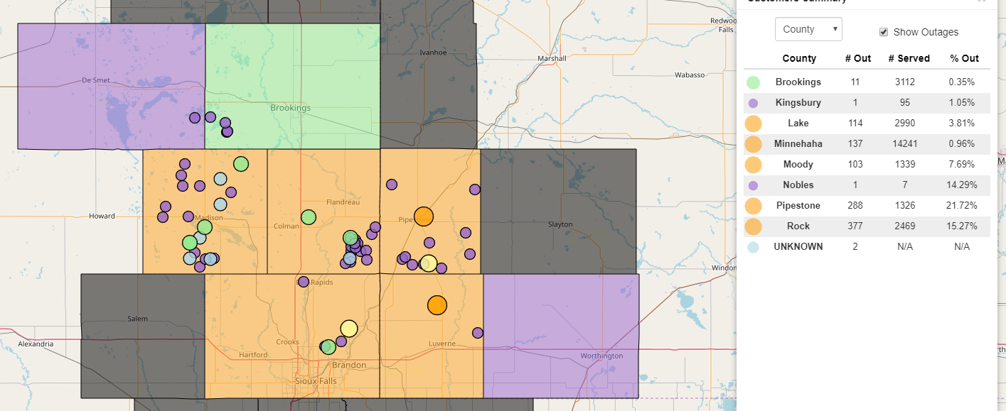 sioux valley energy power outage map Sioux Valley Energy Working On Outage From Sioux Falls North
