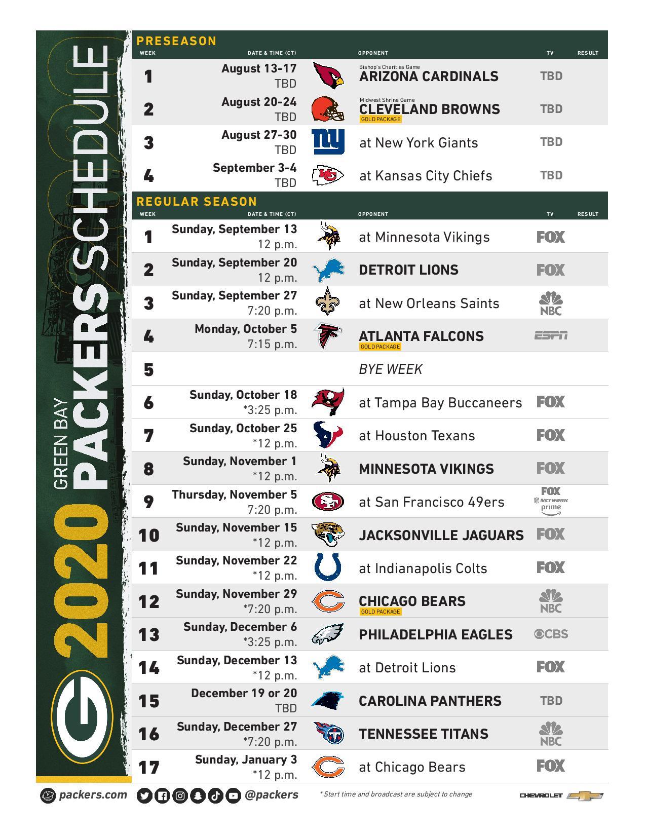 Packers Schedule Announced | 1440 AM & 101.9 FM WNFL Sports