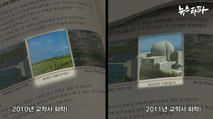 ▲ 한국원자력문화재단의 수정 요구에 따라 대기 오염을 막는 방법으로 풍력 발전 사진 대신 핵발전소 사진이 실렸다.