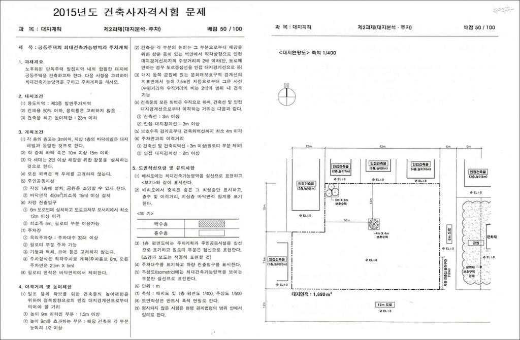 ▲ 2015 건축사자격시험 1교시 출제 문항(위 : 배치계획, 아래 : 대지분석 및 주차)