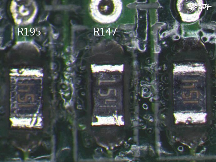 ▲ 맨 왼 쪽의 R195가 문제가 된 타이테크놀로지의 부품이다.