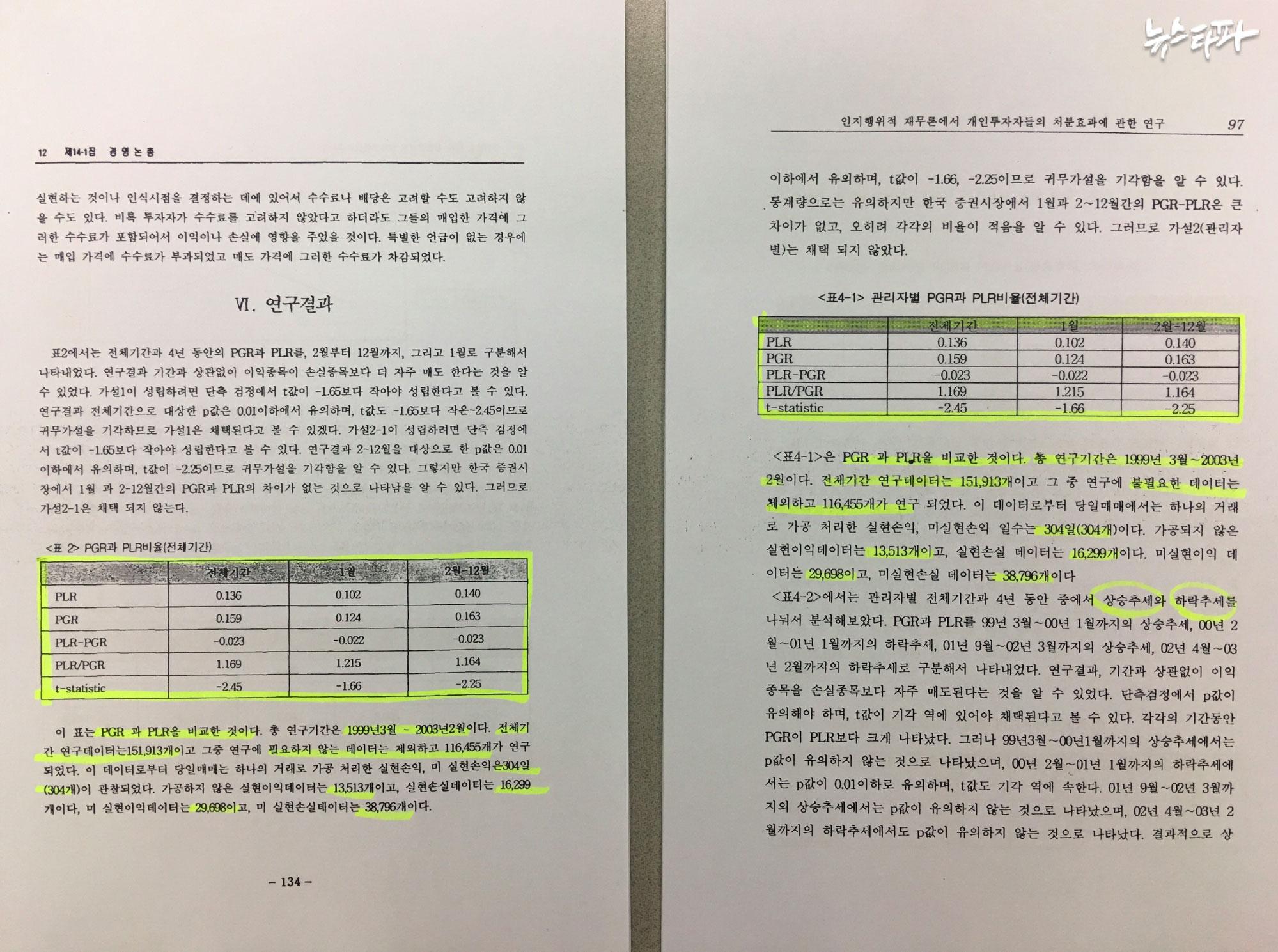 ▲ 최운열 교수는 2004년 논문(오른쪽)의 3장 <분석자료 및 연구방법>과 4장 <연구결과>, 5장 <결론>의 상당 부분을 2003년 논문에서 그대로 옮겨왔다.