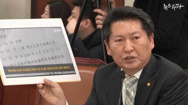 뉴스타파 보도 화면을 들고 질의하는 정청래 민주당 의원