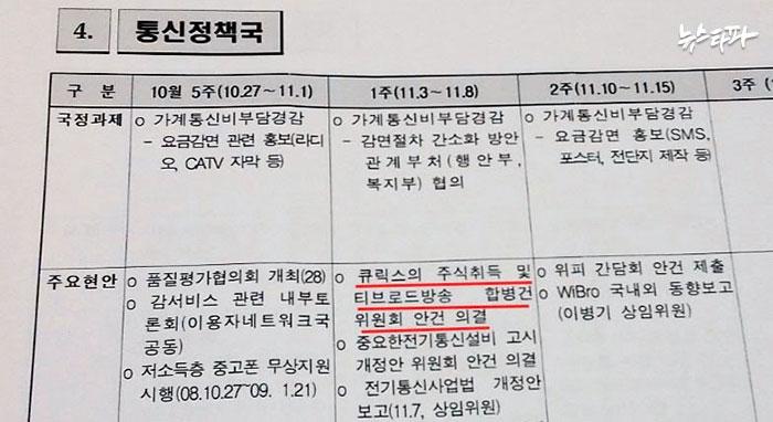 ▲방송통신위원회 통신정책국 2008년 11월 업무 계획 가운데 '주요 현안'이었던 큐릭스와 티브로드 인가 신청