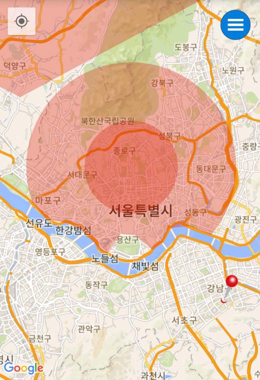 ▲서울의 경우 청와대를 중심으로 강북 대부분이 비행금지구역이다 (한국드론협회 제작 앱 'READY TO FLY' 화면)