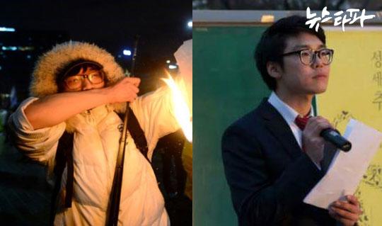 ▲ 방화 용의자의 모습(왼쪽)과 경찰이 가지고 있었던 조형훈 씨 페이스북 사진(오른쪽)