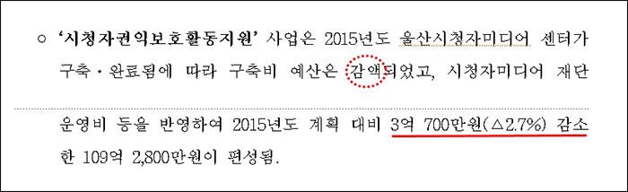 ▲ 방송통신위원회 2016년 예산안 가운데 시청자미디어센터 부분