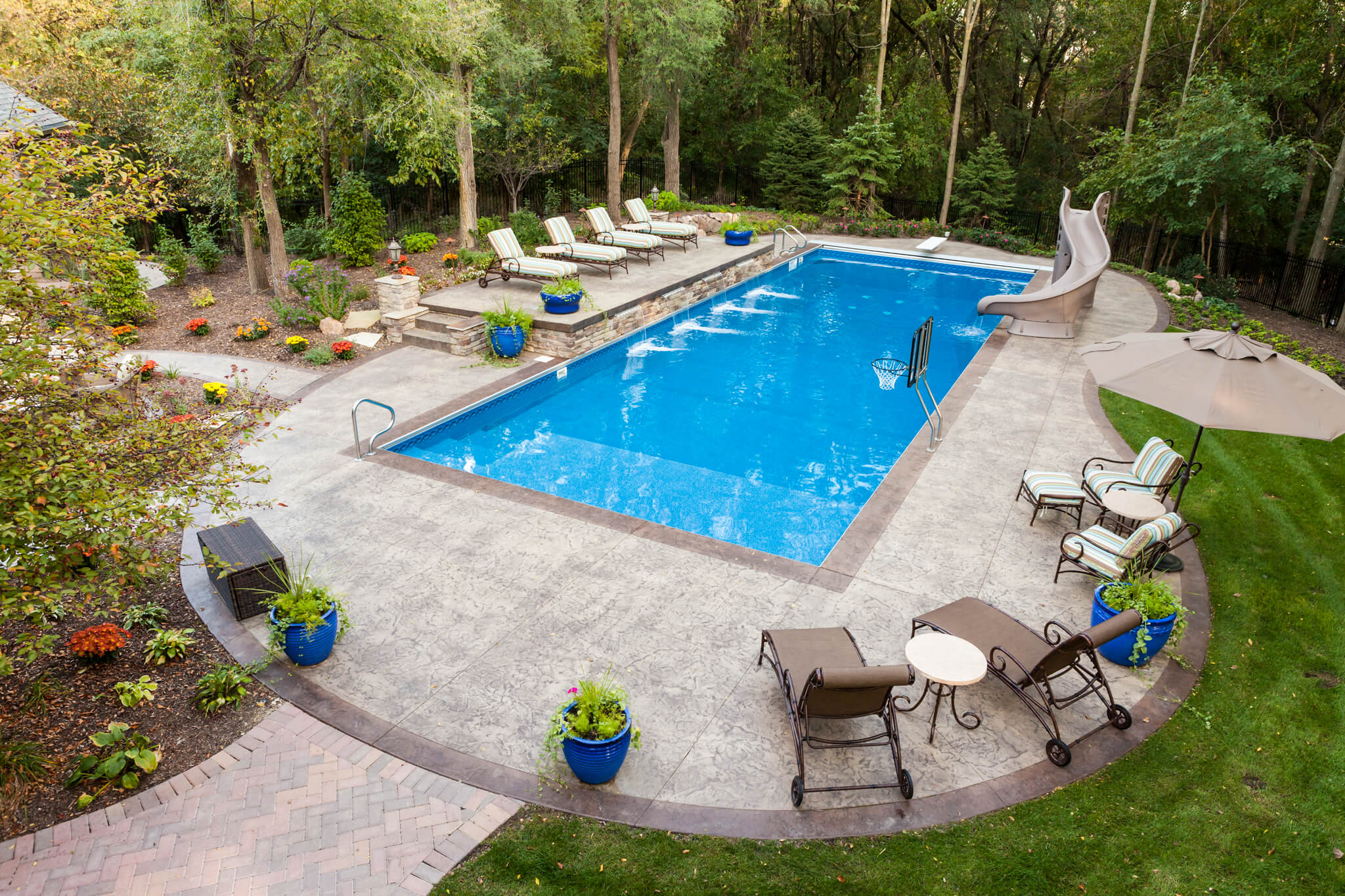 Four options to create a one of a kind decorative concrete pool deck - Backyard swimming pools designs ...