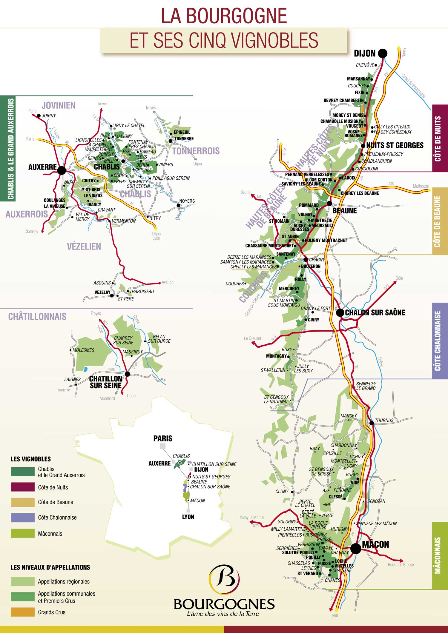 Picture of Bourgogne Vineyard Map