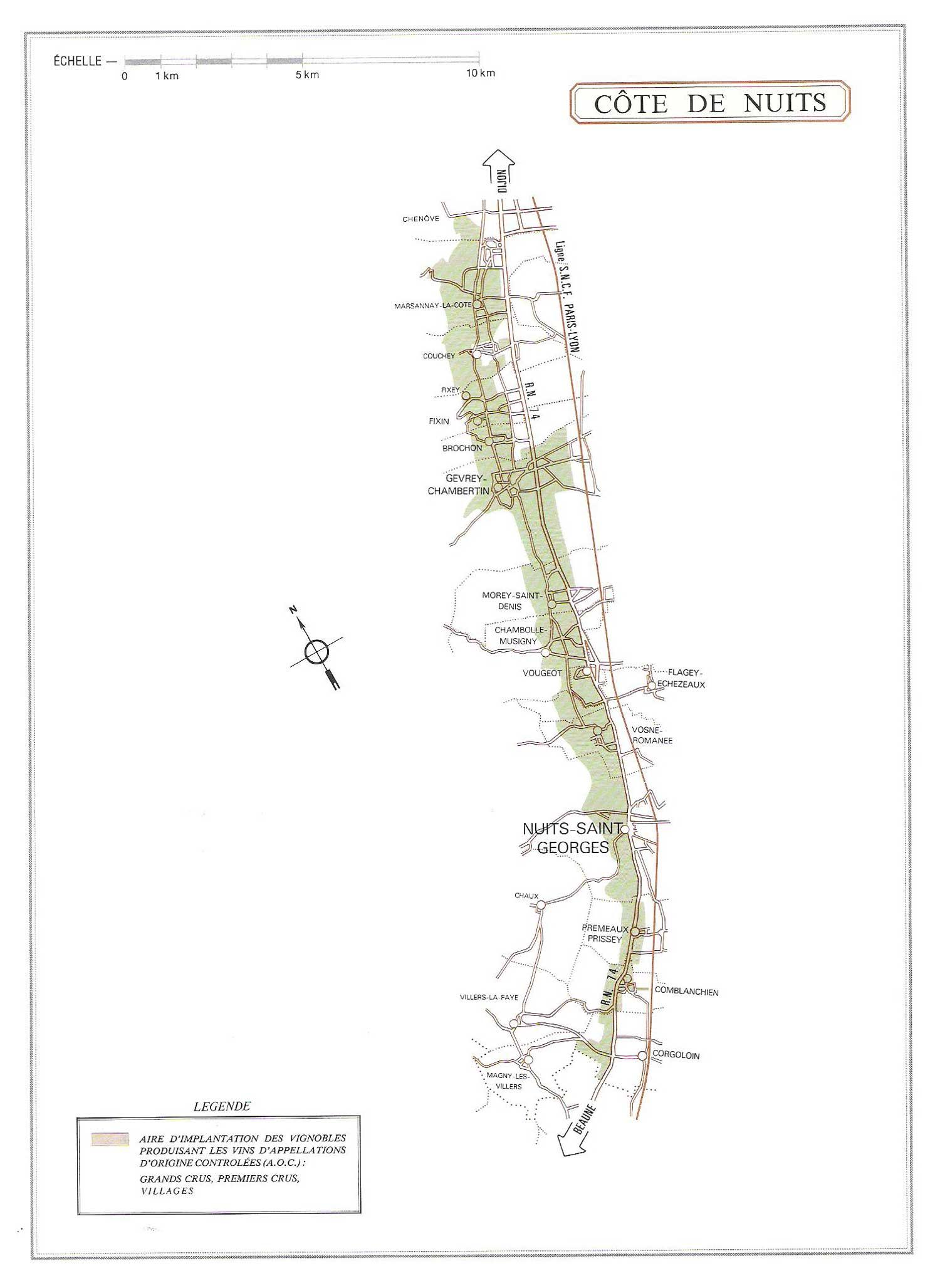 Picture of Cote de Nuits Vineyard Map