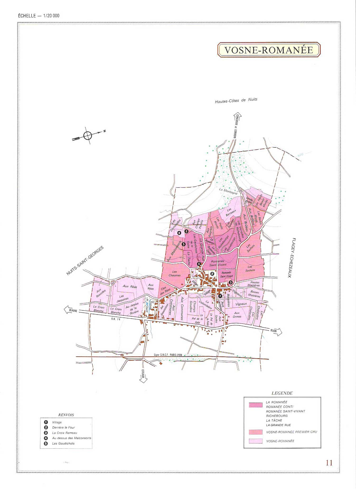 Picture of Vosne-Romanee Vineyard Map
