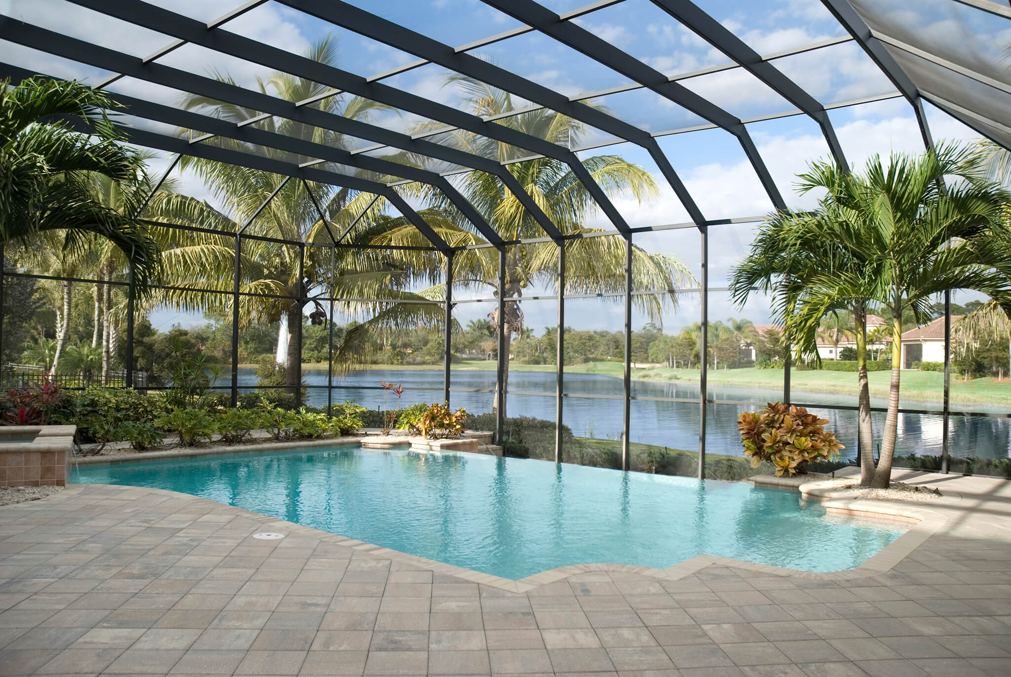 Pool enclosure quality hardscapes porch masters for Quality pool design