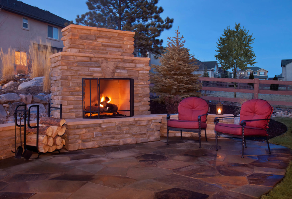 Outdoor Paver Fireplace