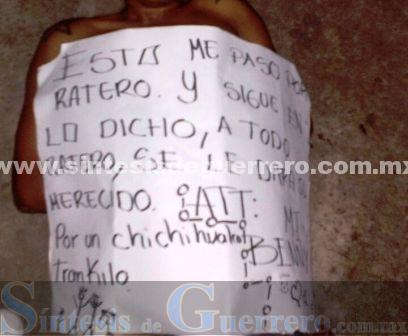 """""""Tablean"""" a otro presunto ladrón y lo exhiben en el centro de Chichihualco"""