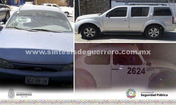 Policía Estatal aseguró en Acapulco dos vehículos probablemente relacionados con hechos delictivos