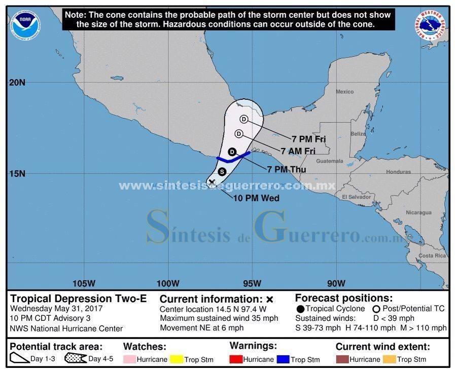 Prevé Protección Civil tormentas intensas en Guerrero debido a la Depresión Tropical 2-E