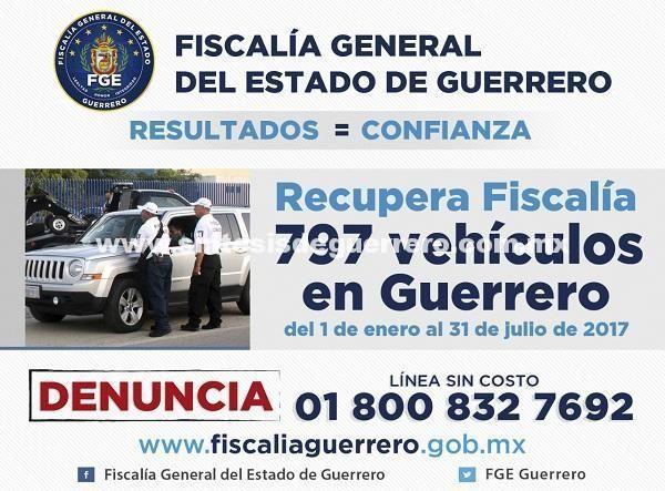 Fiscalía ha recuperado de enero a junio 797 vehículos