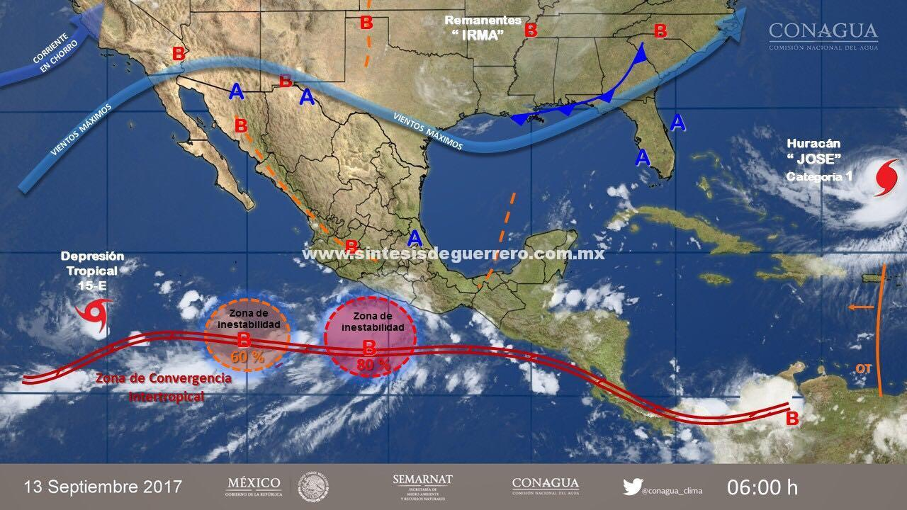 Zona de inestabilidad con potencial ciclónico generará tormentas intensas para Guerrero: SPCGRO