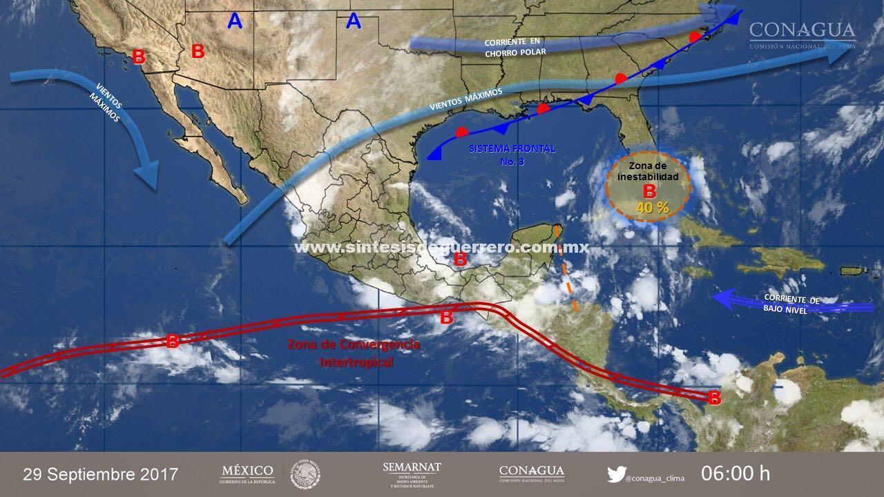 Se registrarán lluvias fuertes en Guerrero por aire marítimo tropical en el Océano Pacífico