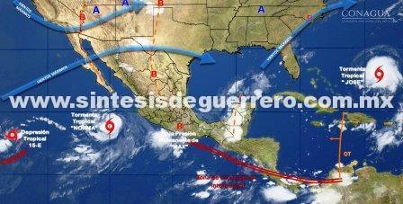 Lluvia en la mayor parte de México dejan Max y Norma