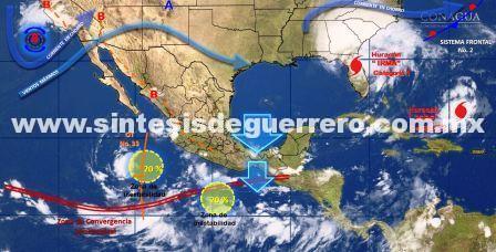 Prevén lluvias en Guerrero por zona de inestabilidad al Sur