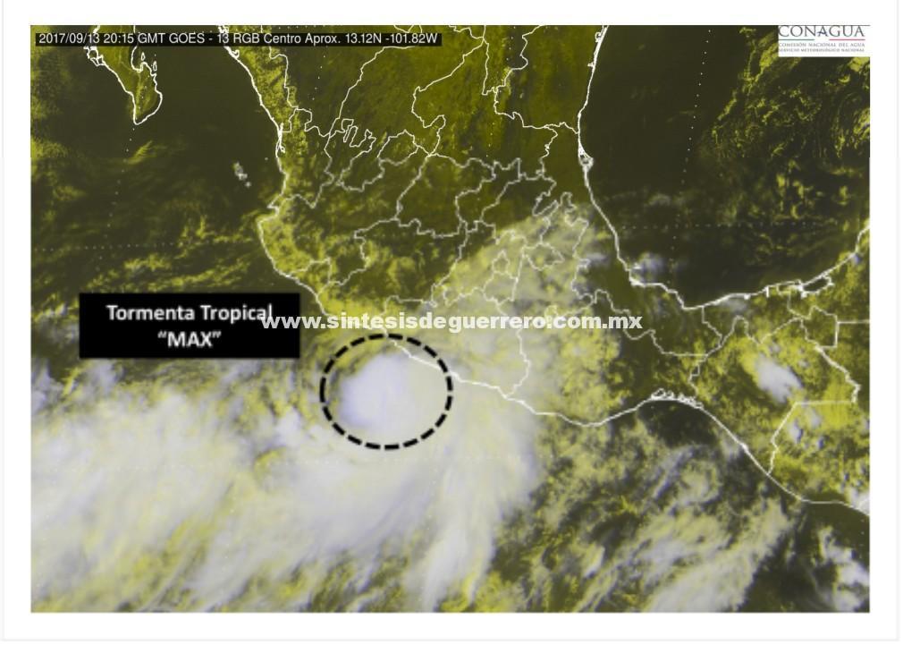 """Depresión Tropical 16-E evoluciona a Tormenta Tropical """"Max"""": SPCGRO"""