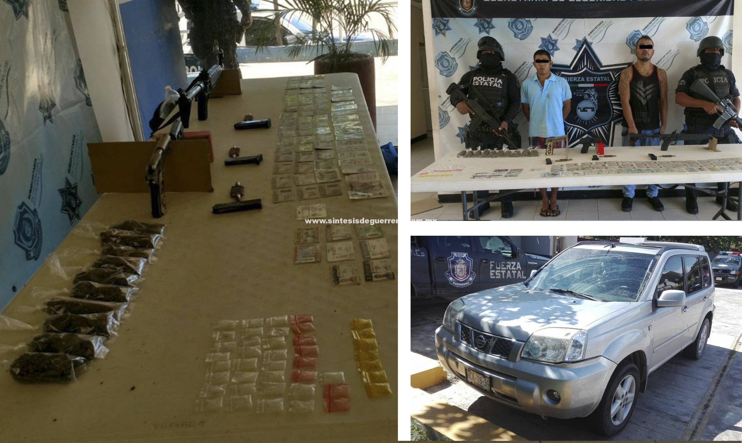 Policías Estatales aseguraron en Zihuatanejo a dos En posesión de armamento, droga y vehículo robado