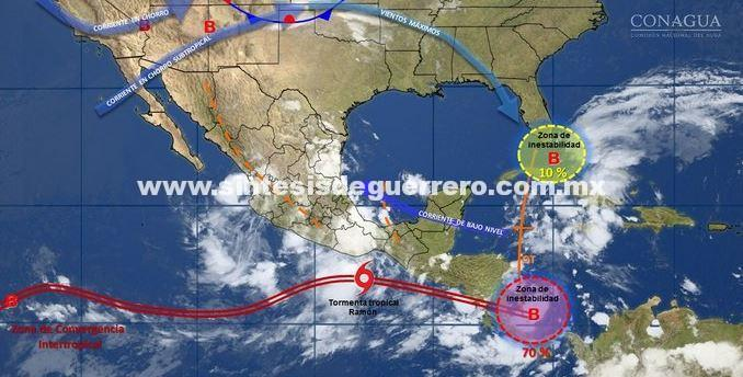 """Establece SMN zona de vigilancia desde Puerto Ángel hasta Acapulco por tormenta tropical """"Ramón"""""""