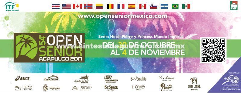 Listo Guerrero, para recibir a los participantes del torneo 54° Open Senior Acapulco 2017