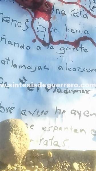 Dejan cabeza cercenada en calles de Tlapa de Comonfort