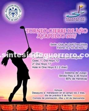 Acapulco, sede de Torneo femenil de Golf Cierre de Año 2017