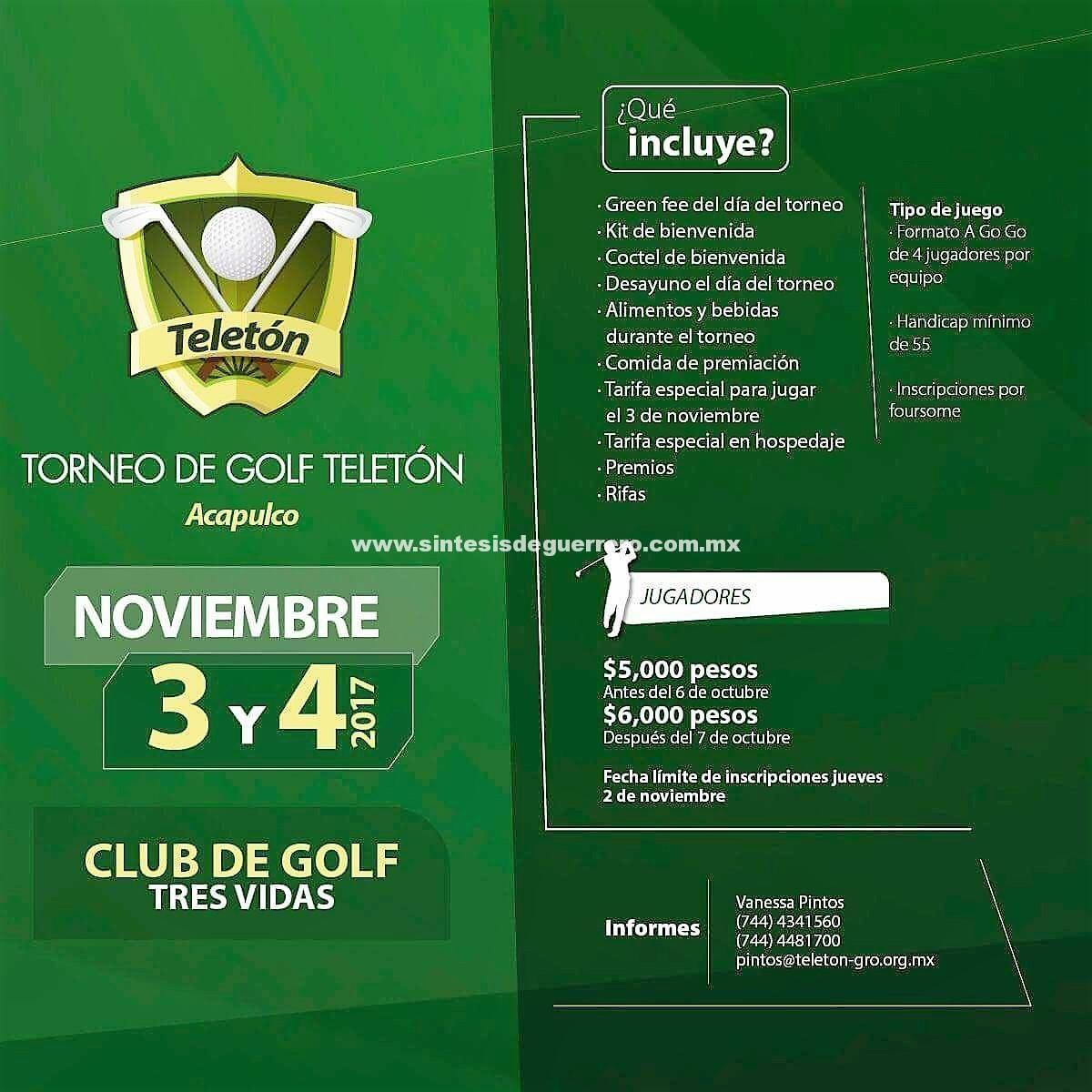 EL 3 y 4 de noviembre, Acapulco sede de Torneo de Golf a beneficio de niños y niñas del CRIT de Guerrero