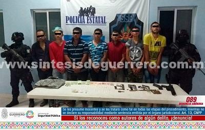 Aseguran Policía Estatal y Ejército Mexicano en Ciudad Altamirano a siete masculinos en poder de armamento de grueso calibre, presunta cocaína y cristal