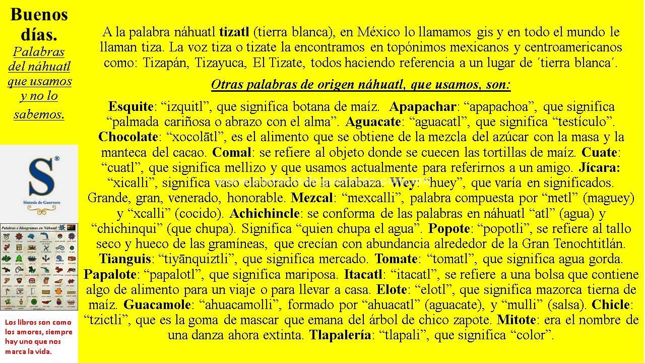 Buenos días. Palabras en Náhuatl