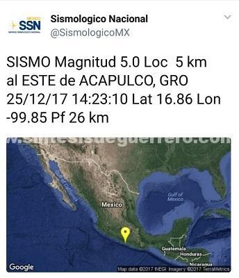 No se reportan daños en Guerrero por sismo de magnitud 5.0