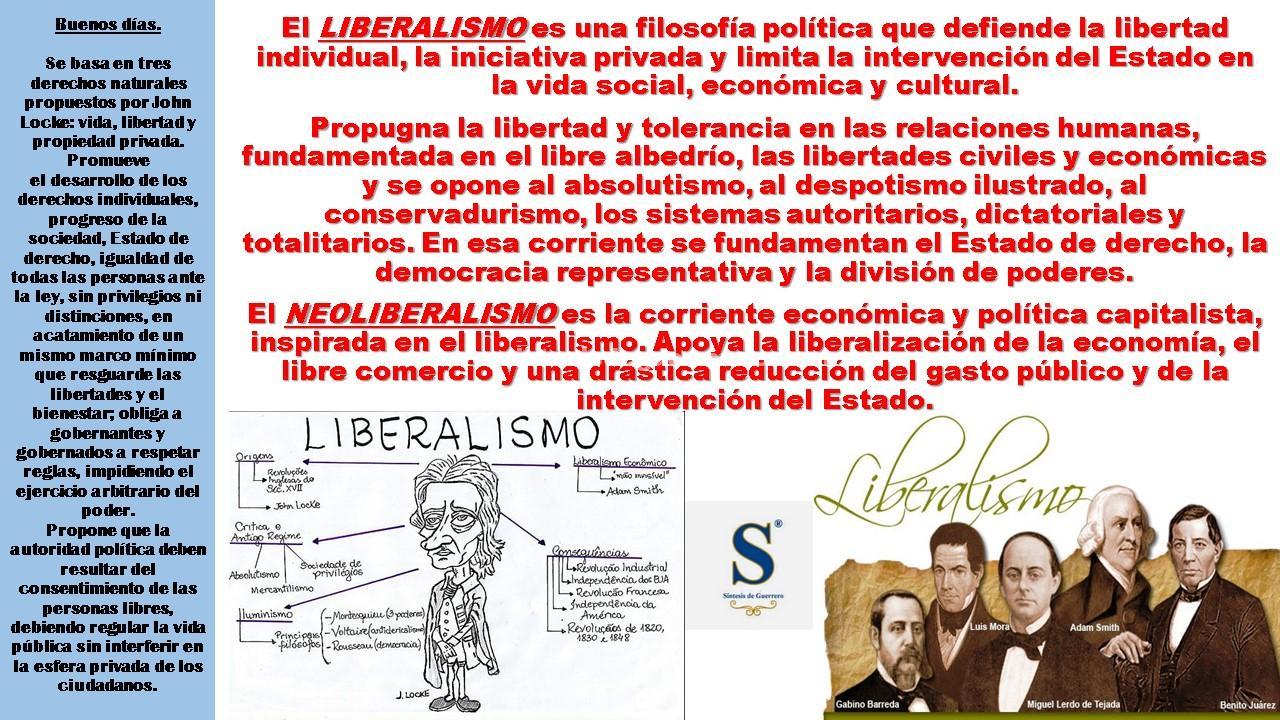 Buenos días. Liberalismo y Neoliberalismo