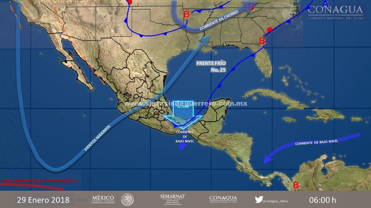 Se prevén lluvias y baja temperaturas en Guerrero, por frente frío número 25