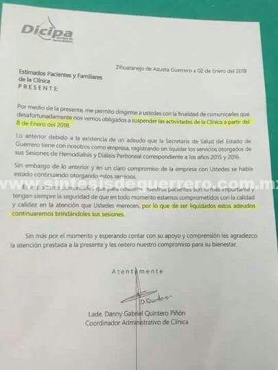 Por deuda de la SSa, suspenderán servicio de dialisis y hemodiálisis en Zihuatanejo