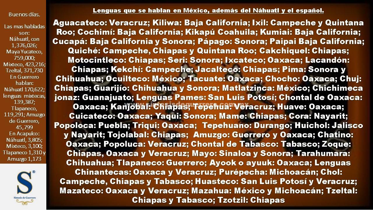 Buenos días. Lenguas de México
