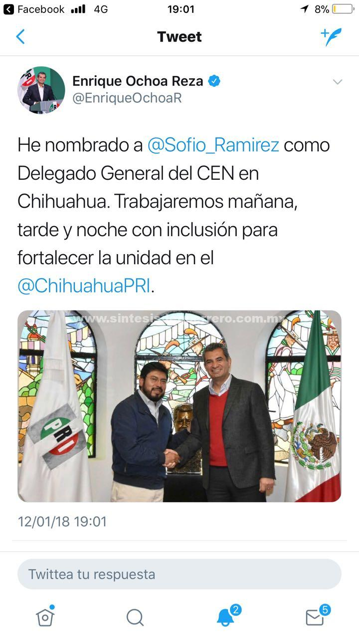 El Presidente del CEN del PRI, Enrique Ochoa Reza, nombró el día de hoy al Senador Sofío Ramírez Hernández como Delegado del partido en el estado de Chihuahua.