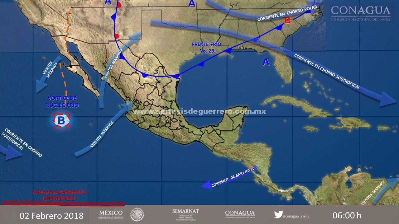 Continuará el descenso de temperatura por frente frío 26 en Guerrero
