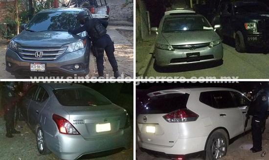 Recupera policía Estatal ocho vehículos con reporte de robo en la Región de Costa Grande