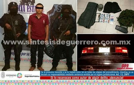 """Asegura policía Estatal en Coyuca de Catalán a José Manuel """"N"""" por probable privación de la livertad de un masculino en Zirándaro"""