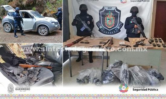 Aseguran policía Estatal en la Sierra de Guerrero; Armamento,vehículo y semilla de amapola