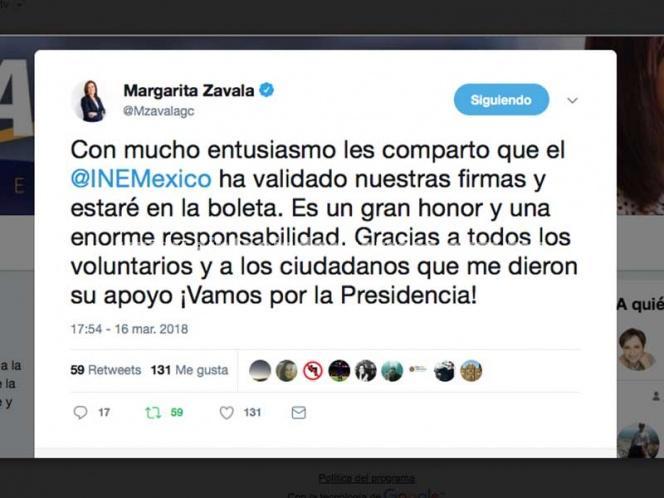 Celebra Margarita Zavala en redes el aval del INE a su candidatura